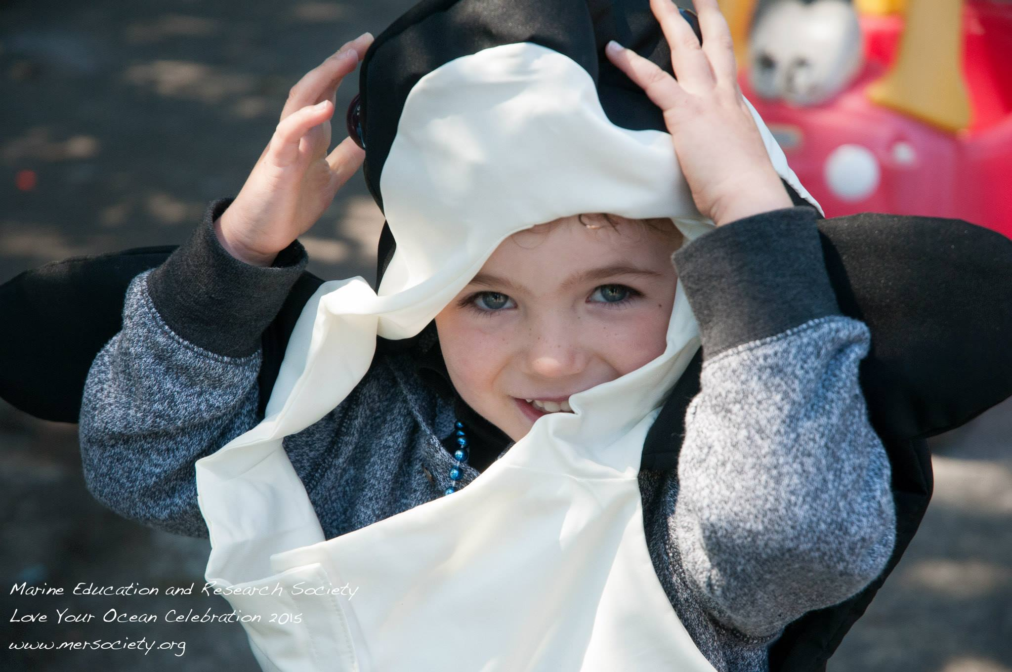 Child wearing whale costume